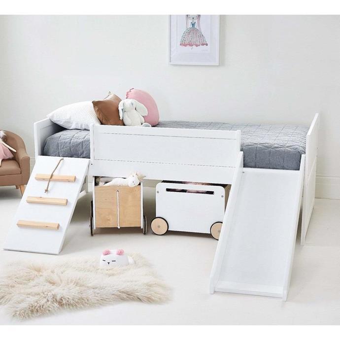 "Kids Loft Timber Bed Single Size, $769.95, [Hip Kids](https://www.hipkids.com.au/products/white-loft-single-timber-bed?utm_medium=cpc&utm_source=google&utm_campaign=Google%20Shopping&gclid=Cj0KCQjw9IX4BRCcARIsAOD2OB11QPkKU8lo9bqTs1vkbCj49hgeeq7BHlE382O4jemnDAhljkdmGLYaAs6JEALw_wcB target=""_blank"" rel=""nofollow"")"