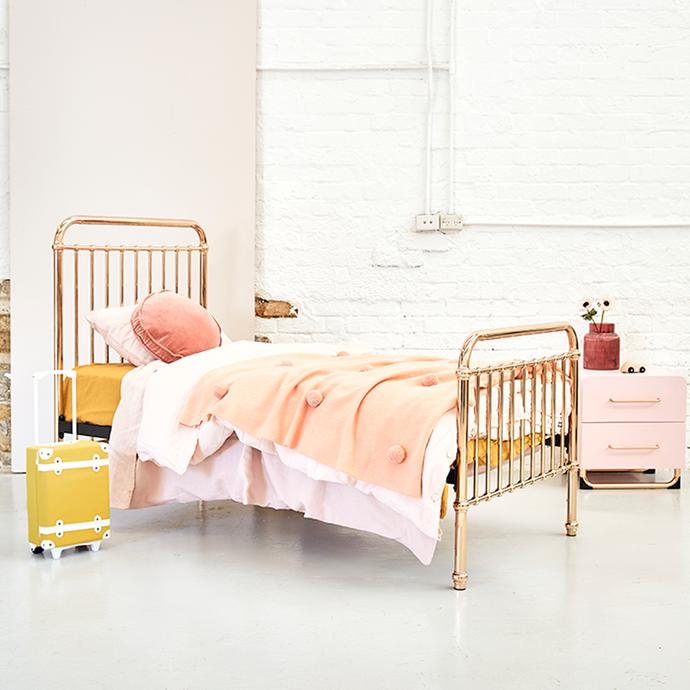 "Eden Single Bed - Rose Gold, $699, [Incy Interiors](https://incyinteriors.com.au/eden-single-bed-rose-gold/ target=""_blank"" rel=""nofollow"")"