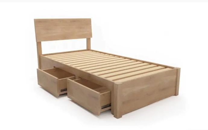 """Praga Custom Drawer Timber Bed Frame, $1,599, [Bedworks](https://www.bedworks.com.au/bed-frames/custom-made-beds/custom-made-timber-beds/1471-praga-custom-drawer-timber-bed-frame.html target=""""_blank"""" rel=""""nofollow"""")"""