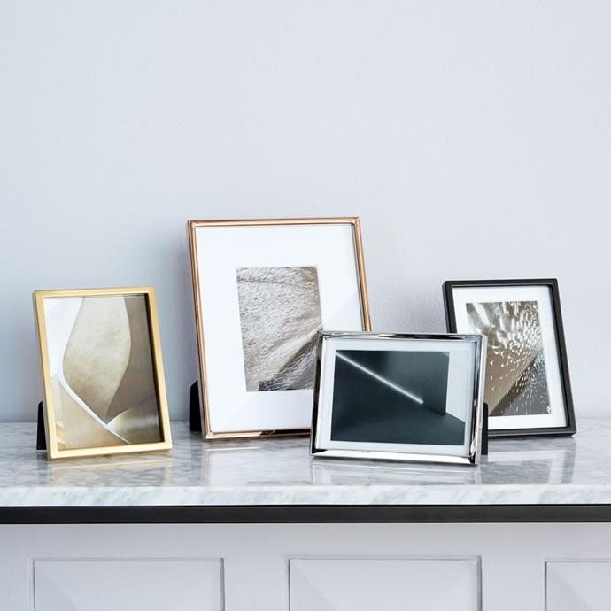 "Gallery Frames - Polished Nickel, from $54, [West Elm](https://www.westelm.com.au/gallery-frames-polished-nickel-w1684|target=""_blank"")"