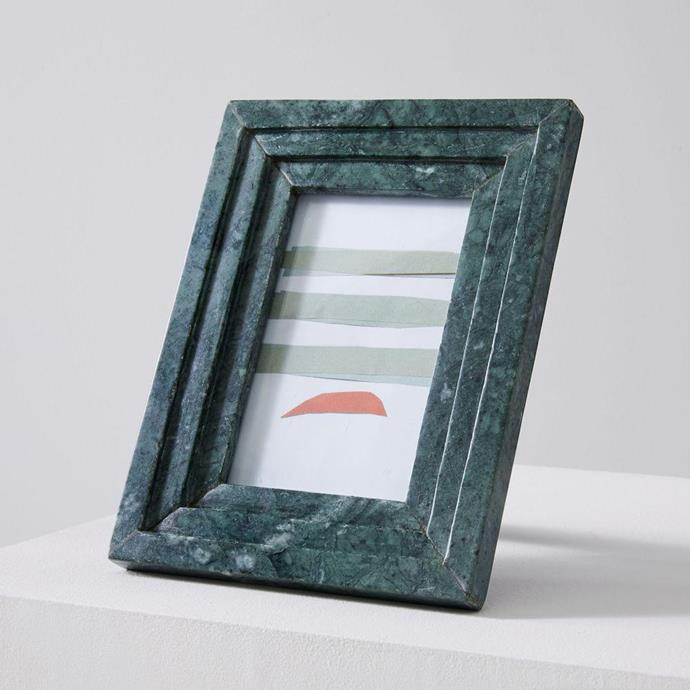 "Textured Marble Frame in Green, $59, [West Elm](https://www.westelm.com.au/textured-marble-frames-d6936?quantity=1&attribute_1=Green|target=""_blank""