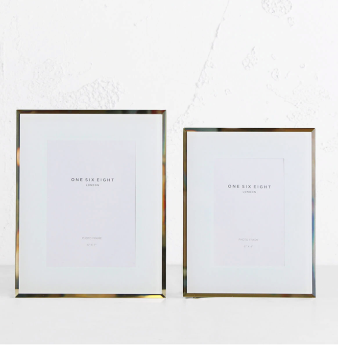 "One Six Eight London, Glass Photo Frame Set of 2, $64.98, [Living by Design](https://livingbydesign.net.au/products/one-six-eight-london-glass-photo-frame-white-5-x-7-in-6-x-4-in-set-of-2?_pos=33&_sid=25749e5aa&_ss=r|target=""_blank""