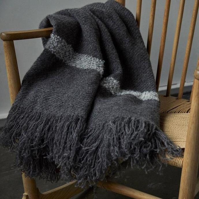 """Stansborough Lambswool throw in grey, $400, [In Bed](https://inbedstore.com/collections/throws/products/stansborough-lambswool-throw-in-grey-1