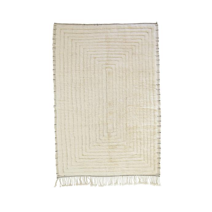 "Linden Beni M'Rirt rug, $6100, [Tigmi Trading](https://tigmitrading.com/collections/rugs-all/products/linden-beni-mrirt|target=""_blank""|rel=""nofollow"")"