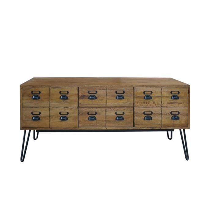"Leroy Mango Wood & Iron sideboard, $1099, [Living Styles](https://www.livingstyles.com.au/leroy-mango-wood-iron-bookcase/|target=""_blank""