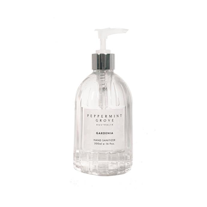 "Gardenia Hand Sanitiser, $29.95 (500ml), [Peppermint Grove](https://peppermintgroveaustralia.com/buy/bath-body-care/hand-sanitizer/gardenia-hand-sanitizer-500ml/ target=""_blank"" rel=""nofollow"")"