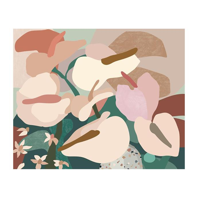 "Anthurium I Print by Kimmy Hogan, $310, [Life Interiors](https://www.lifeinteriors.com.au/homewares/art-work/kimmy-hogan-anthurium-i-print|target=""_blank""