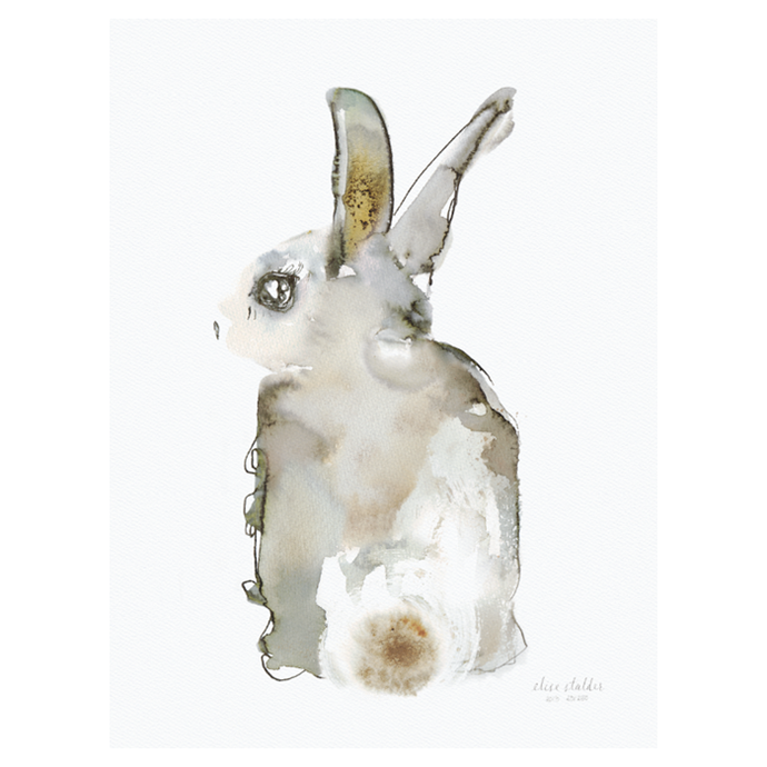 "Elise Stalder Poster Watercolour Rabbit, $230, [Leo & Bella](https://leoandbella.com.au/shop/elise-stalder-poster-watercolour-rabbit-50x70cm/|target=""_blank""