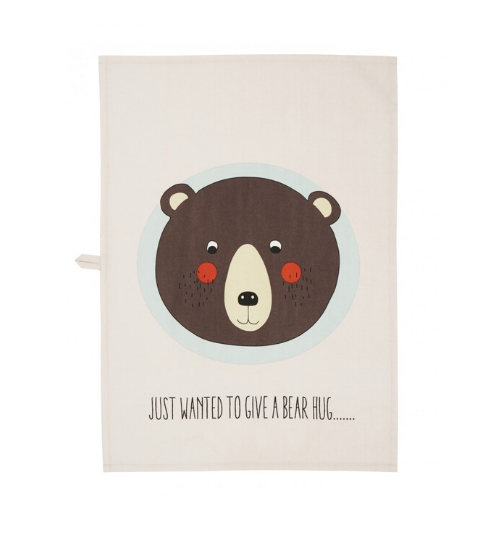 "Oyoy Tea Towel Bear, $25, [Leo & Bella](https://leoandbella.com.au/shop/oyoy-tea-towel-bear/|target=""_blank""