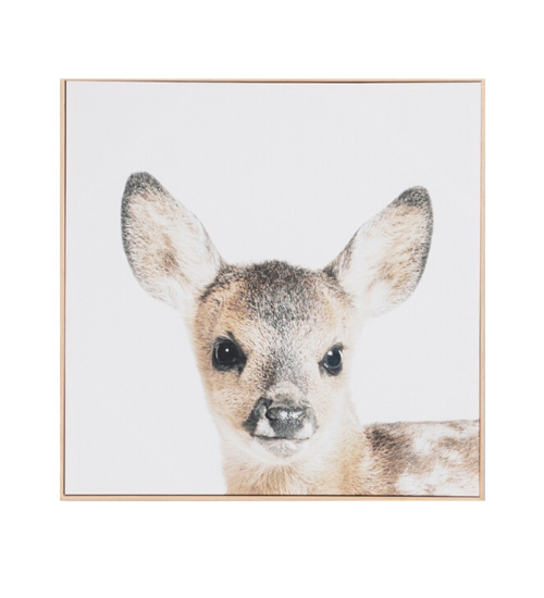 "Lovable Fawn Framed Canvas by Middle of Nowhere, $230, [Life Interiors](https://www.lifeinteriors.com.au/homewares/art-work/middle-of-nowhere-lovable-fawn-framed-canvas|target=""_blank""