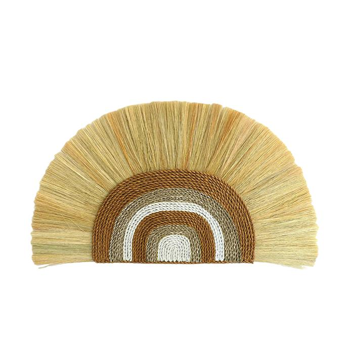 """La Abode Natural Rainbow Rayung & Seagrass wall hanging, $99, [Temple & Webster](https://www.templeandwebster.com.au/Natural-Rainbow-Rayung-and-Seagrass-Wall-Hanging-LAAB1034.html