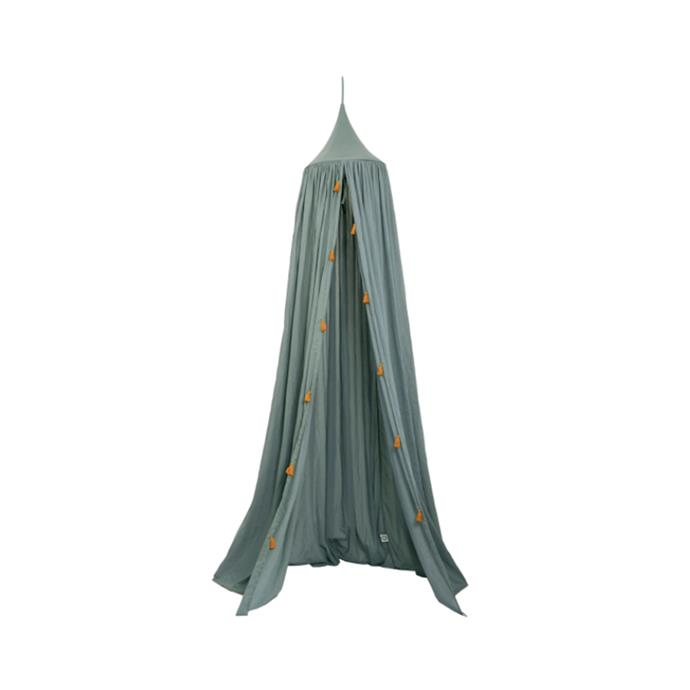 "Canopy with tassels in Sea Grey, $151, [Royal Design](https://royaldesign.com/au/canopy-with-tassels-sea-grey|target=""_blank""