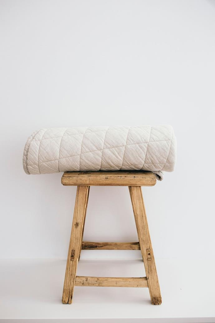 """Oatmeal Baby Play Mat, $140, [Linen Social](https://linensocial.com.au/collections/baby-play-mat/products/oatmeal-baby-play-mat?variant=32136260911204 target=""""_blank"""" rel=""""nofollow"""")"""