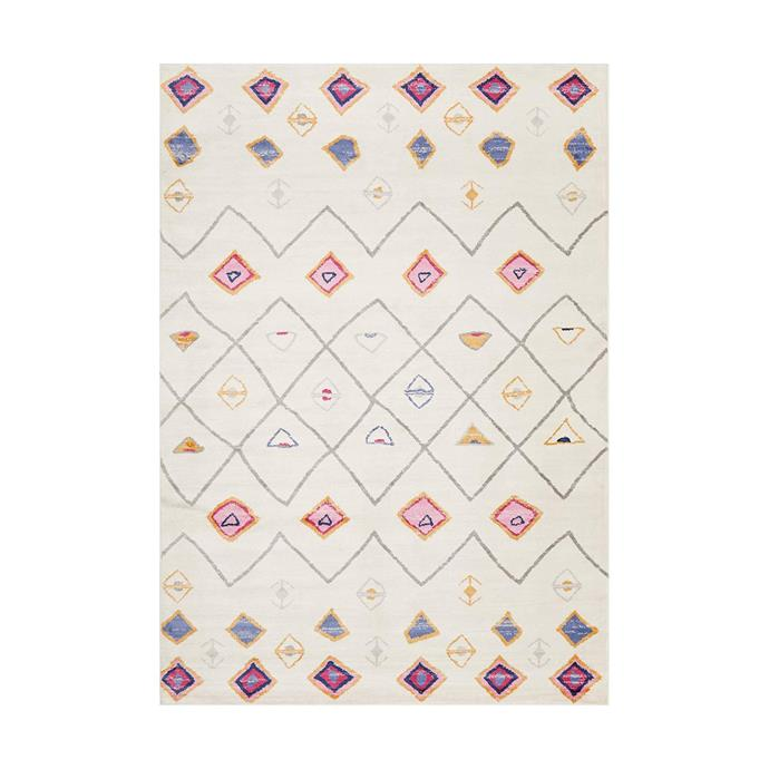 "Kumla White Diamond Rug, $219, [Miss Amara](https://missamara.com.au/products/kumla-white-diamond-rug|target=""_blank""|rel=""nofollow"")"