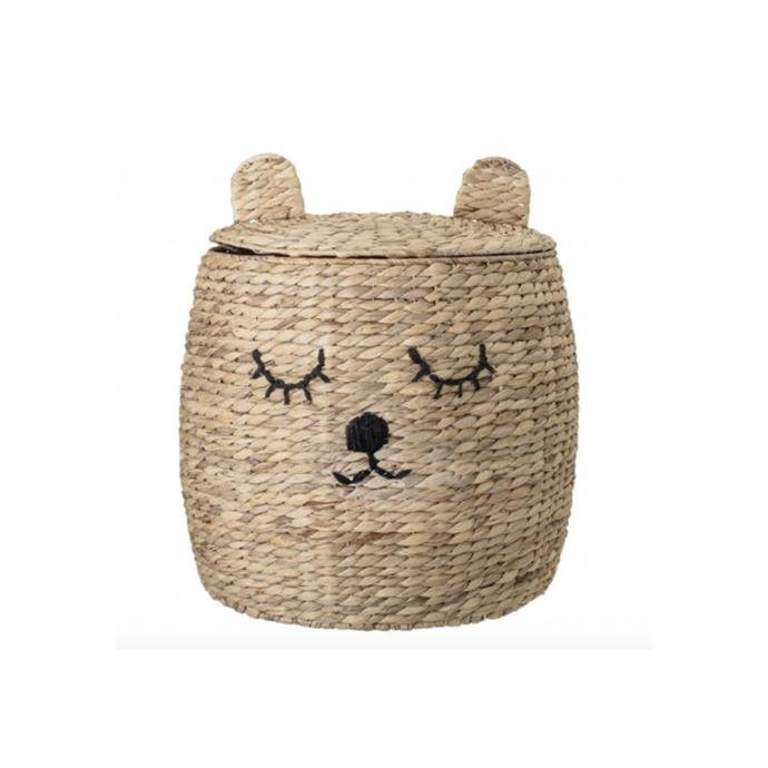 "Bloomingville Bear Storage Basket with lid, $219, [Design Stuff](https://www.designstuff.com.au/bloomingville-bear-storage-basket-w-lid-nature/|target=""_blank""