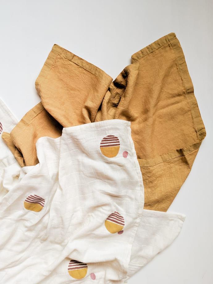 """Lush Linen Oversized Swaddle in Gold, $70, [Wildflower & Oak](https://wildflowerandoak.com/products/gold-lush-linen-oversized-swaddle target=""""_blank"""" rel=""""nofollow"""")"""