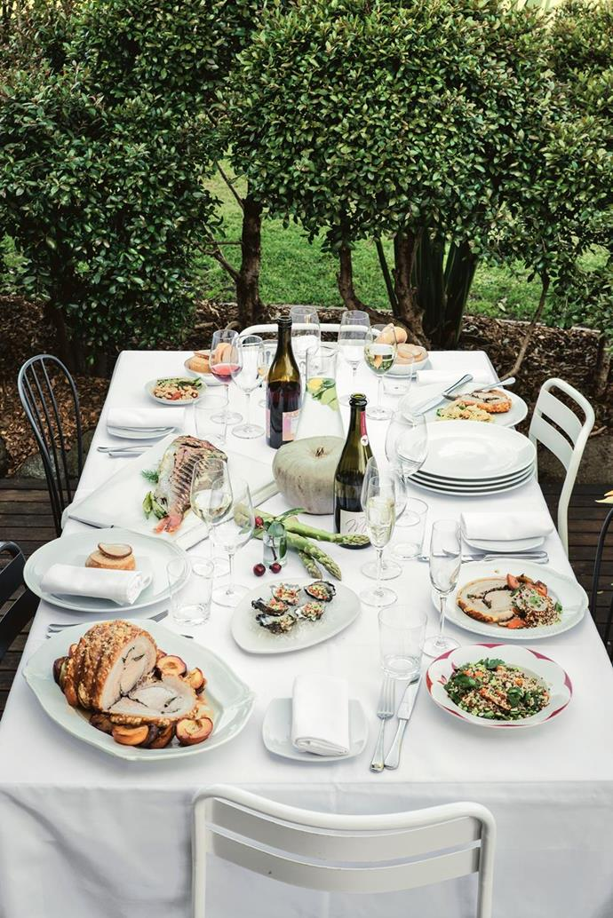 "A celebratory feast at St Isidore, one of the [biggest attractions in the NSW town of Milton](https://www.homestolove.com.au/milton-nsw-attractions-12581|target=""_blank""), where the philosophy of garden-to-plate rules, has perfected outdoor dining, with minimal white dinnerware and silver cutlery to let the colours of the food stand out. Mouthwatering!"