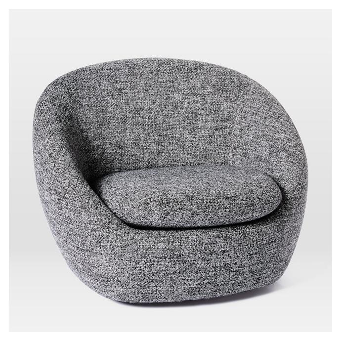 "Cosy swivel chair, $1299, [West Elm](https://www.westelm.com.au/cozy-swivel-chair-h3797|target=""_blank""|rel=""nofollow"")"