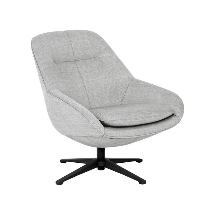 "'Diego' fabric swivel chair, $1399, [Life Interiors](https://www.lifeinteriors.com.au/furniture/living-room/armchairs/life-interiors-diego-fabric-armchair|target=""_blank""|rel=""nofollow"")"