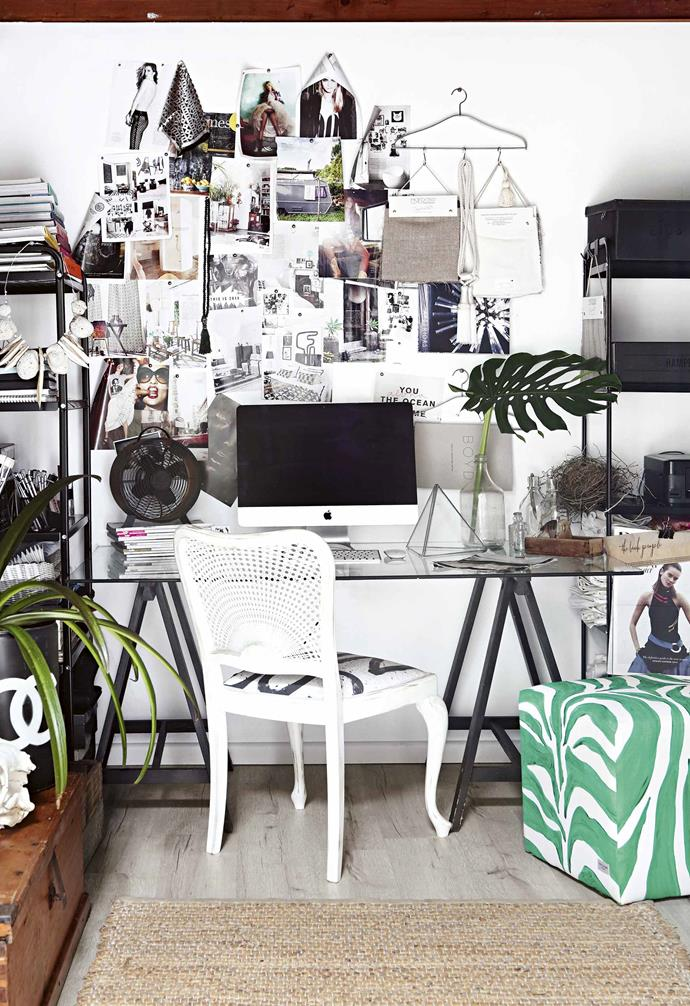 "**Work smart** Lara's [home office](https://www.homestolove.com.au/study-in-style-home-office-inspiration-17422|target=""_blank"") is dominated by a large glass desk, which she propped on top of trestles. ""It was a bit of a creation,"" she says. ""I was given the glass. It used to be part of a coffee table but people used to knock their knees on it."" The green-and-white zebra-striped ottoman was a gift from Lara's mother, Kate, who creates beautiful handpainted textiles, and the mood wall changes almost daily, depending on what Lara is working on. <br><br>**Tip**: Keep it simple in a study so your [moodboard](https://www.homestolove.com.au/how-to-create-a-moodboard-4238