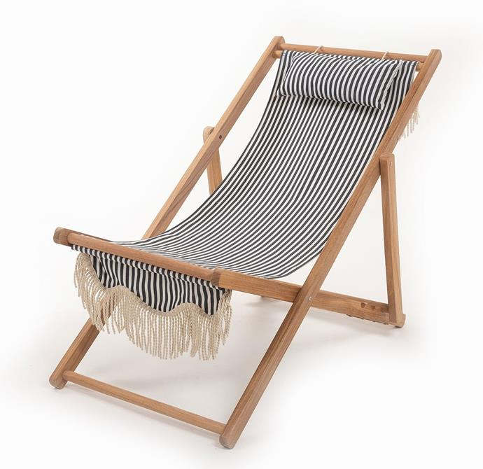 """Sling Chair - Lauren's Navy Stripe, $249, [Business & Pleasure](https://businessandpleasureco.com.au/collections/all-beach-chairs/products/sling-chair-laurens-stripe