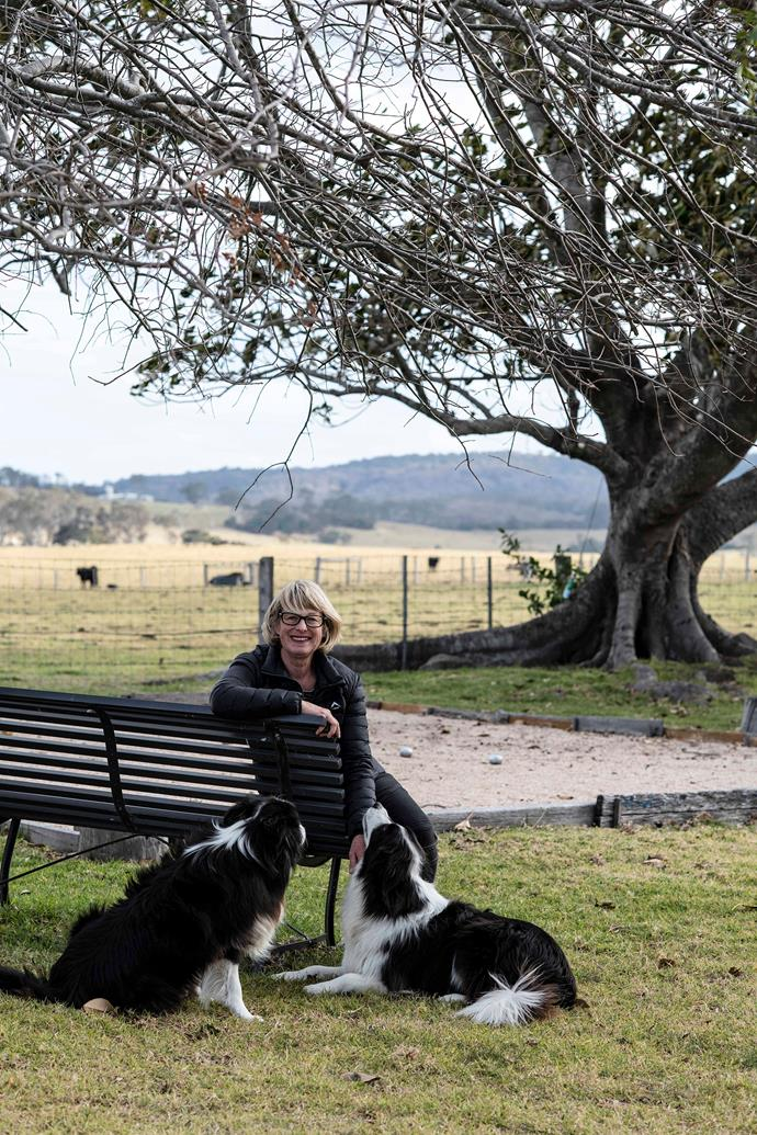 Jenny Paul with her border collies Molly and Tui.