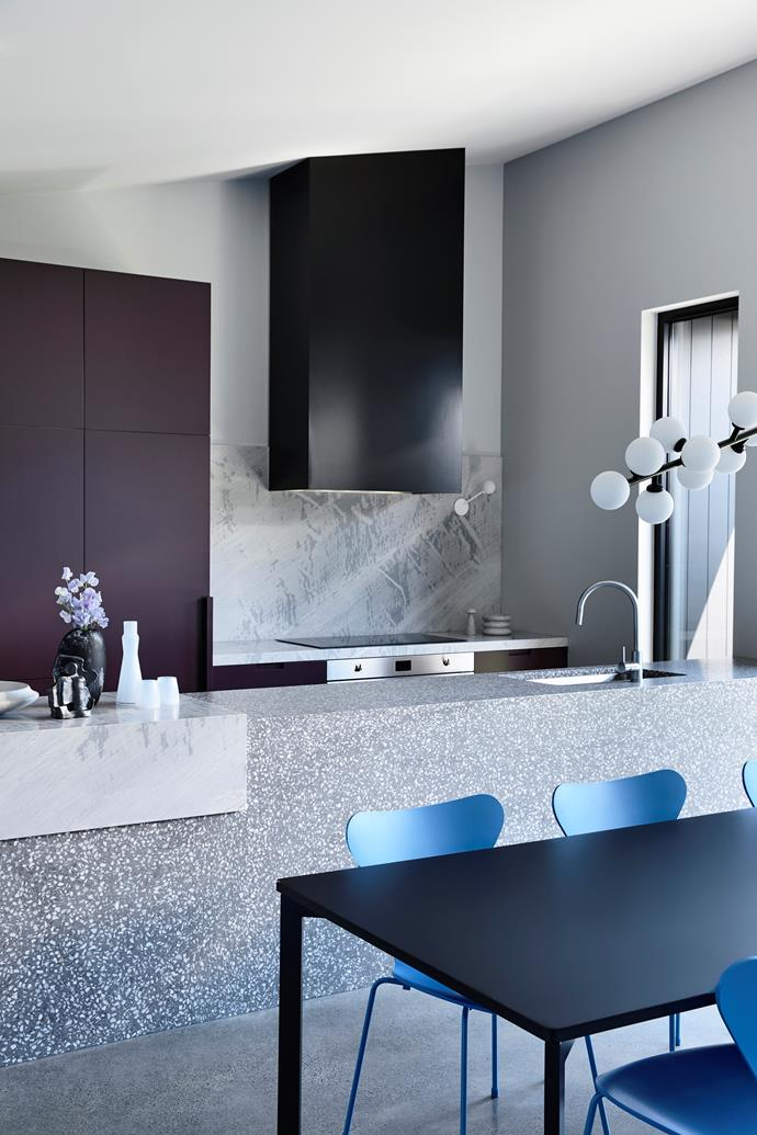 "The kitchen was designed with a beautiful palette of materials including an Artedomus 'Elba' marble [splashback](https://www.homestolove.com.au/splashback-finishes-4432|target=""_blank"") and a Signorino terrazzo island (opposite)."