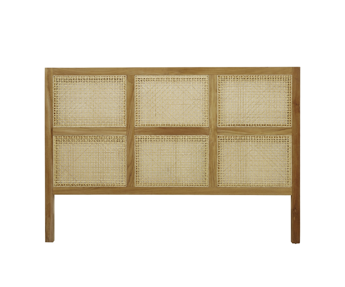 "GlobeWest willow woven bedhead, $1490, [Life Interiors](https://www.lifeinteriors.com.au/globe-west-willow-woven-bedhead|target=""_blank""