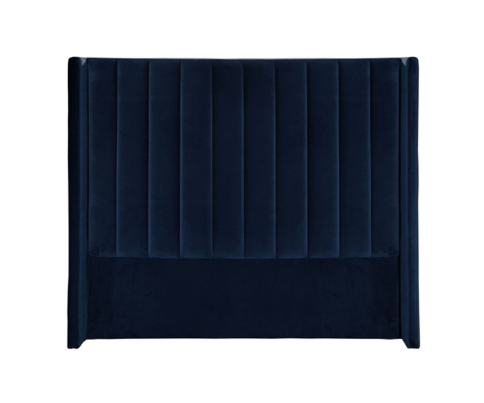 "'Monaco' winged velvet bedhead, from $549, [Temple & Webster](https://www.templeandwebster.com.au/Monaco-Winged-Velvet-Bedhead-GWTR1072.html|target=""_blank""