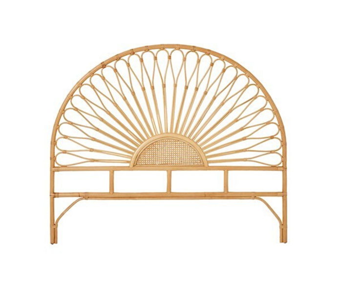 "Home Republic Bahama rattan bedhead, from $349.99, [Adairs](https://www.adairs.com.au/furniture/bedheads/home-republic/bahama-rattan-bedhead-queen-honey/|target=""_blank""