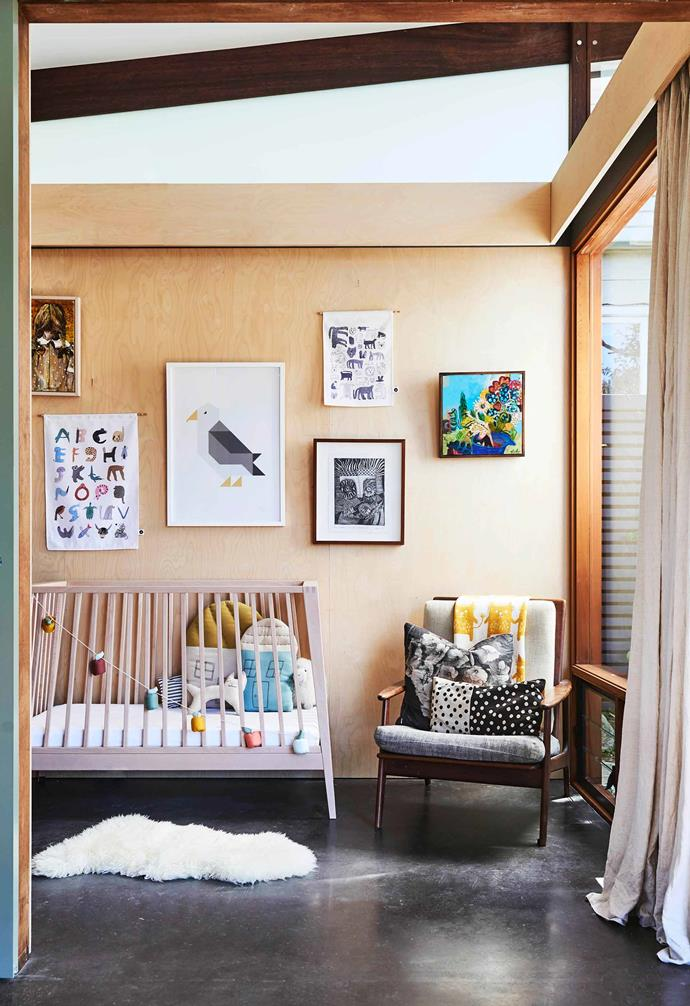 "**Nursery ** A vintage Parker chair slots in next to the cot. Rug, [Ikea](https://www.ikea.com/au/en/|target=""_blank""