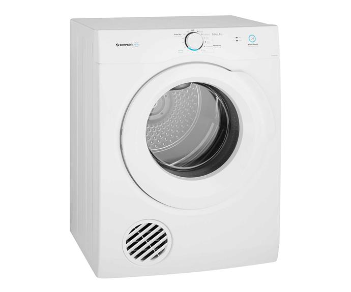 "Simpson 6.5kg vented dryer, $559, [Appliances Online](https://www.appliancesonline.com.au/product/simpson-sdv656hqwa-6-5kg-vented-dryer|target=""_blank""