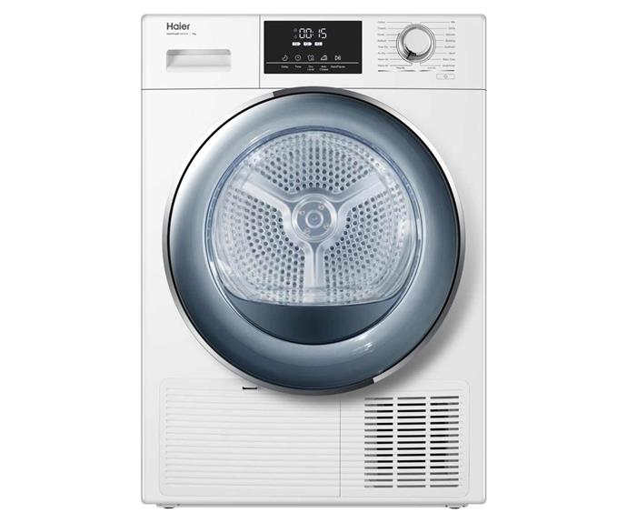 "Haier 8kg heat pump condenser dryer, $1399, [JB Hi-Fi](https://www.jbhifi.com.au/products/haier-hdhp80e1-8kg-heat-pump-condenser-dryer|target=""_blank""