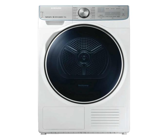 "Samsung 9kg heat pump dryer, $1495, [The Good Guys](https://www.thegoodguys.com.au/samsung-9kg-heat-pump-dryer-dv90n8289aw|target=""_blank""