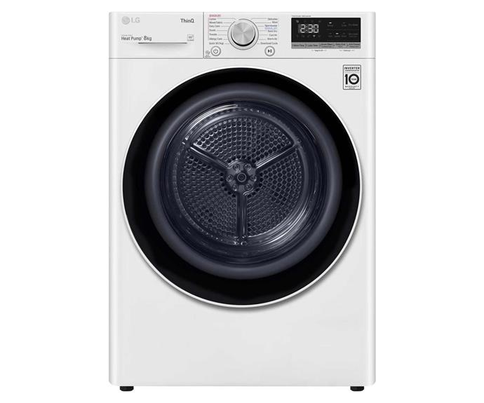 "LG 8kg heat pump dryer, $1699, [JB Hi-Fi](https://www.jbhifi.com.au/products/lg-dvh5-08w-8kg-heat-pump-dryer-white|target=""_blank""