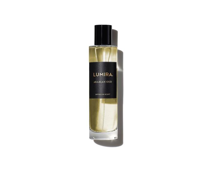"Lumira 'Arabian' oud room spray, $70/100ml, [Atelier Lumira](https://www.atelierlumira.com/collections/home-fragrance|target=""_blank""|rel=""nofollow"")"