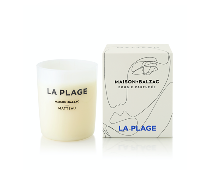 "'La Plage' candle, $69, [Maison Balzac](https://www.maisonbalzac.com/products/la-plage|target=""_blank""|rel=""nofollow"")"
