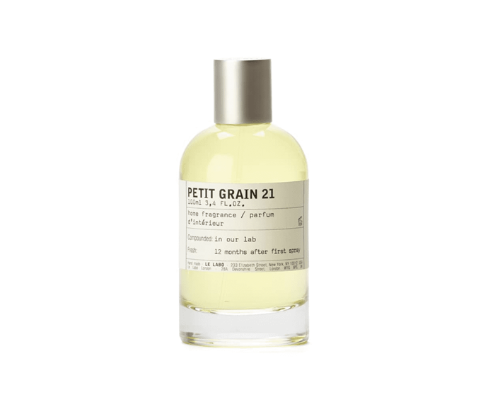 "'Petit Grain 21' home fragrance spray, $182, [Le Labo Fragrances](https://www.lelabofragrances.com.au/petit-grain-21-944.html?size=100ml|target=""_blank""