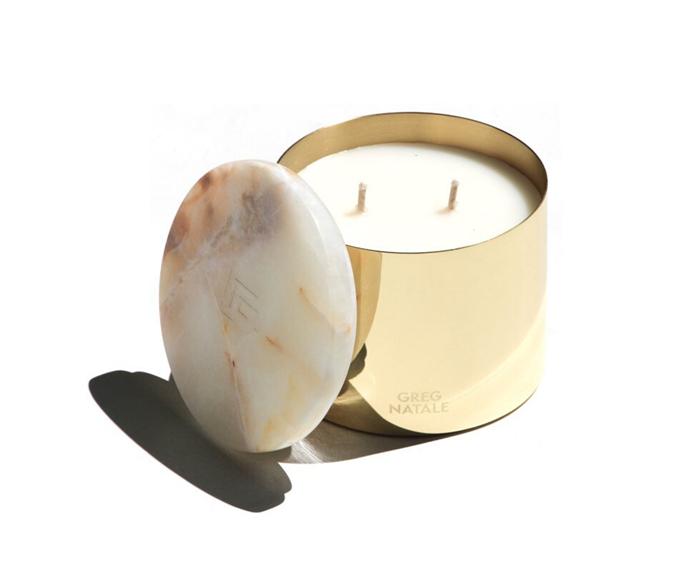 "'Sanctuary' candle, $100, [Greg Natale](https://shop.gregnatale.com/products/sanctuary-greg-natale-candle?variant=2145695957001|target=""_blank""|rel=""nofollow"")"