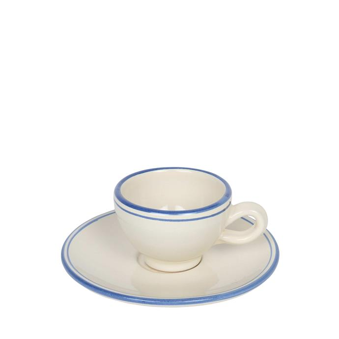 """Apulian espresso cup and saucer in ivory and blue, $45, [Alex and Trahanas](https://alexandtrahanas.com/collections/ceramics/products/apulian-espresso-cup-and-saucer-white-and-blue