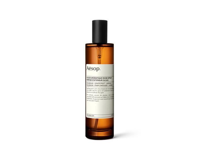 "'Olous' aromatique room spray, $63, [Aesop](https://www.aesop.com/au/p/home/home-gifts/olous-aromatique-room-spray/|target=""_blank""|rel=""nofollow"")"