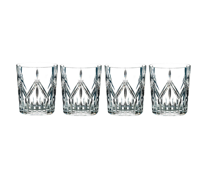 "Marquis by Waterford 'Markham' tumbler set of 4, $56, [Victoria's Basement](https://www.victoriasbasement.com.au/Product/Details/104166/waterford-marquis-lacey-tumbler-set-of-4-made-in-germany|target=""_blank""