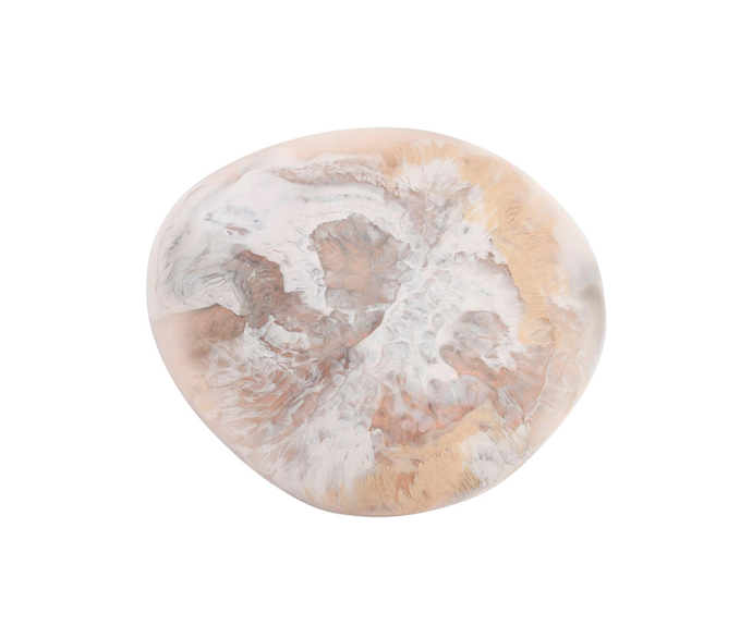 "Extra large modern tribal platter, $880, [Dinosaur Designs](https://www.dinosaurdesigns.com.au/products/extra-large-resin-modern-tribal-platter-cream-swirl|target=""_blank""|rel=""nofollow"")"