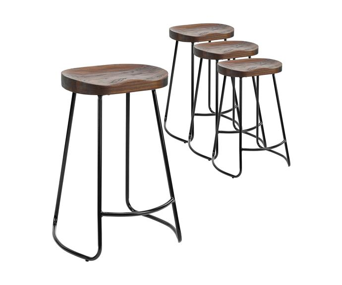 "Vintage-Style Elm Wood Barstools with Black Legs, $299 (set of four), [Temple & Webster](https://www.templeandwebster.com.au/66cm-Vintage-Style-Elm-Wood-Barstools-with-Black-Legs-TMPL1900.html|target=""_blank""