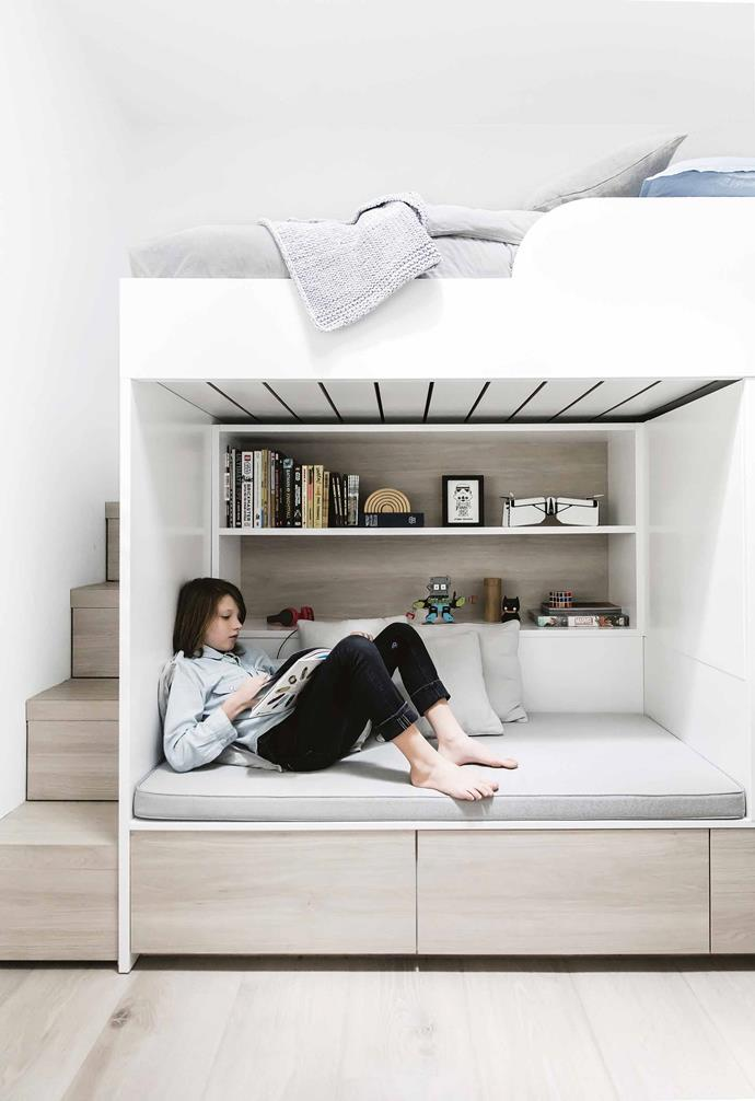 "**Space matters** Space under a beautiful raised bed has become a book/reading nook in [Nikki Yazxhi's Sydney home](https://www.homestolove.com.au/bellamumma-nikki-yazxhi-home-tour-16880|target=""_blank"") by [Nina Maya](http://www.ninamayainteriors.com/