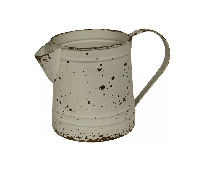 "Rustic White Farmhouse Jug, $35, [The Renmy Store](https://therenmystore.com.au/products/jug-rustic-farmhouse|target=""_blank"")"