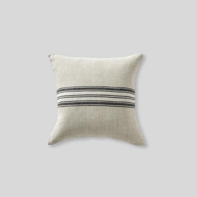 "Heavy linen cushion cover with stripes in natural, $65, [In Bed](https://inbedstore.com/collections/cushions/products/heavy-linen-cushion-cover-with-stripes-in-natural|target=""_blank""