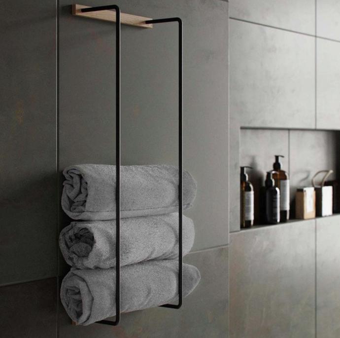 "BY WIRTH Towel Rack, Black/Oiled Oak, $159, [Design Stuff](https://www.designstuff.com.au/by-wirth-towel-rack-black-oiled-oak/|target=""_blank""|rel=""nofollow"")"
