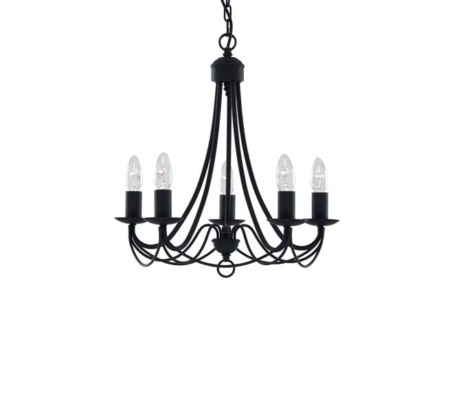 """**[Zanzibar Iron Chandelier, $249, Living Styles](https://www.livingstyles.com.au/zanzibar-iron-chandelier-5-arm-black/ target=""""_blank"""" rel=""""nofollow"""")** <br></br> This statement light fixture is a modern take on the traditional candelabra chandelier. Perfect for above dining tables and bringing focus to a [farmhouse kitchen](https://www.homestolove.com.au/farmhouse-kitchens-20204 target=""""_blank"""")."""