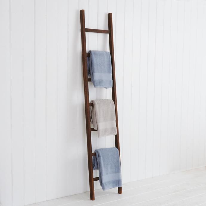 """Antique"" Wooden Ladder in Natural, $99.95, [Provincial Living](https://www.provincialhomeliving.com.au/bathroom/bath-accessories/ladders/antique-wooden-ladder|target=""_blank""|rel=""nofollow"")"